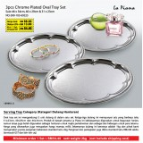 3pcs Chrome Plated Oval Tray Set Saiz: 46 x 34cm, 40 x 29cm & 31 x 23cm